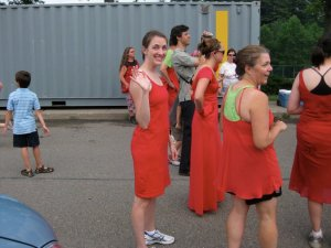 A group of us at the 2010 Red Dress Run. Yes, even the men wear red dresses.