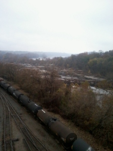 James River and railroad tracks from the Lee Bridge