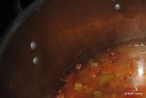 The pot of soup
