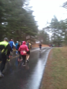 Somewhere between mile 1 and 2 (I think)