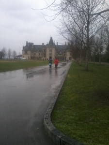 Running in front of the Biltmore Mansion