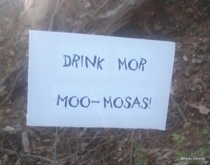Sign telling of approaching Moo-Mosas