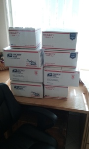 Boxes packed and addressed, waiting to be shipped east