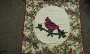 Cardinal Wallhanging, quilted by my mom in 2012
